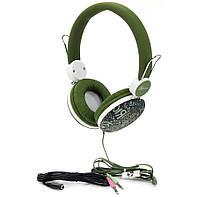 Гарнитура PrologiX MH-A920M Green, Mini jack (3.5 мм) 4pin, накладные, адаптер 2x3,5 мм (3 pin), микрофон на проводе, кабель 1.8 м