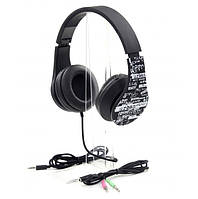 Гарнитура PrologiX MH-A960M-B Black, Mini jack (3.5 мм) 4pin, накладные, адаптер 2x3,5 мм (3 pin), микрофон на проводе, кабель 1.2 м