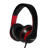 Гарнитура Sven AP-940MV Black/Red, Mini jack (3.5 мм) 4pin, накладные, адаптер 2x3,5 мм (3 pin), микрофон, кожаные, кабель 1.2 м