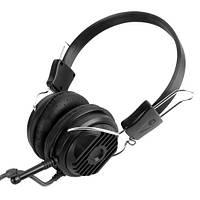 Наушники с микрофоном Gemix HP-702MV Black, 2 x Mini jack (3.5 мм), накладные, регулятор громкости, кабель 2.4 м