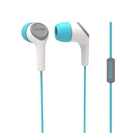 Гарнитура KOSS KEB15i White/Turquoise, вакуумные, наушники с микрофоном для телефона, фото 2