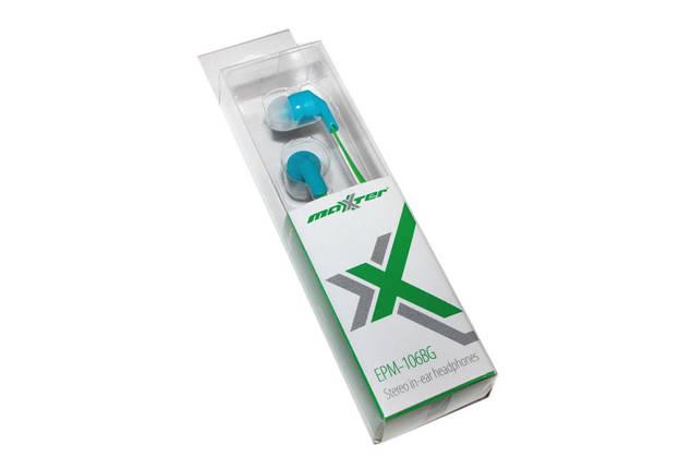 Наушники Maxxter EPM-106BG Blue/Green, Mini jack (3.5 мм), вакуумные, кабель 1.2 м, фото 2