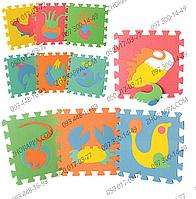 Коврик мозаика M 0388 EVA морские животные, пазлы, 10 деталей 29*29*0,8 см, обучающий и развивающий коврик