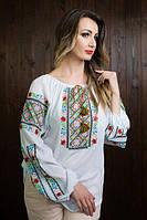 Шикарная женская вышитая блузка с длинными рукавами