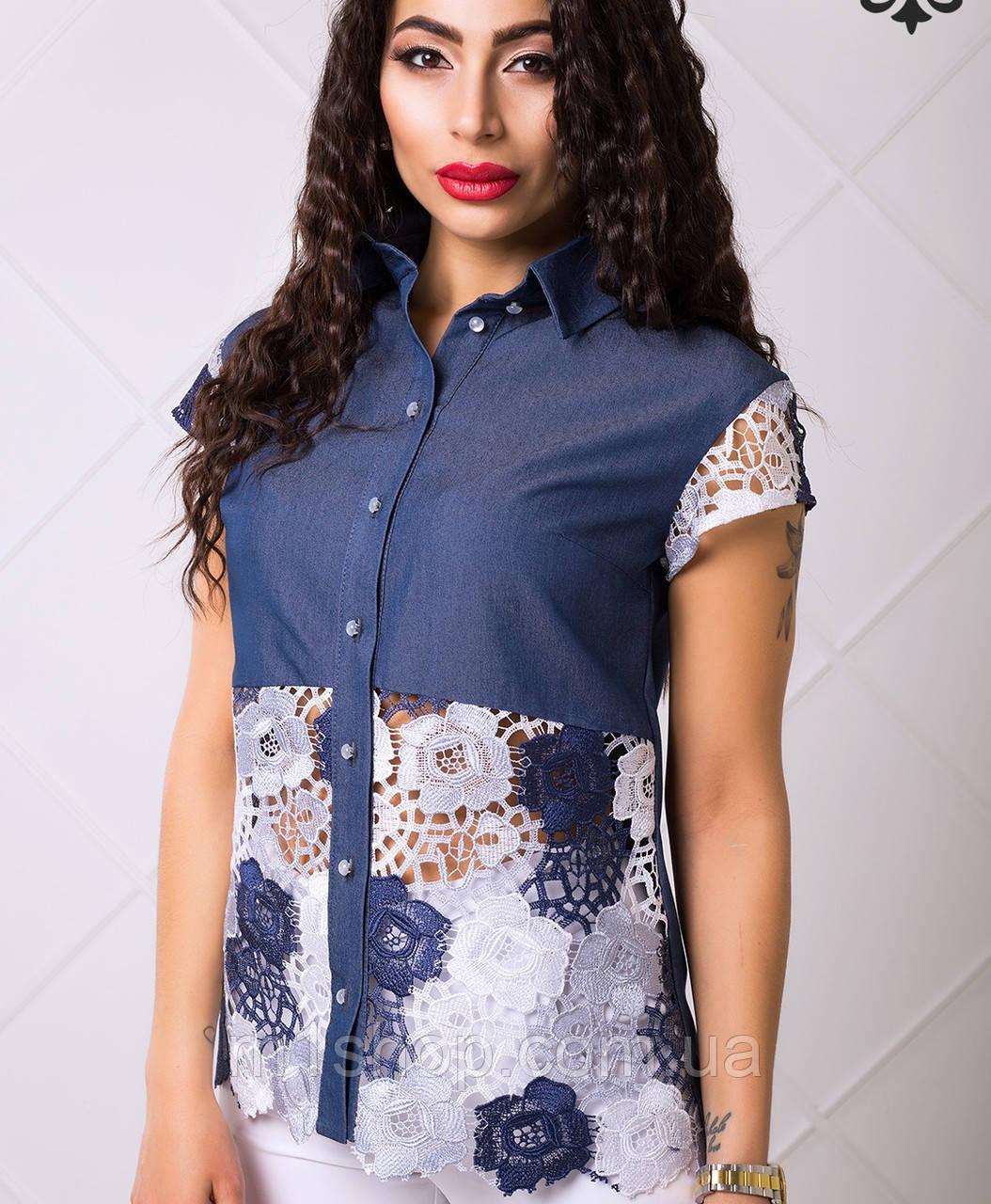 Женская джинсовая рубашка с кружевом (Женева lzn)