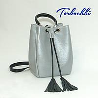 Женская сумка кисет из натуральной кожи