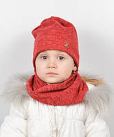 Детский комплект  хомут+шапка красного цвета