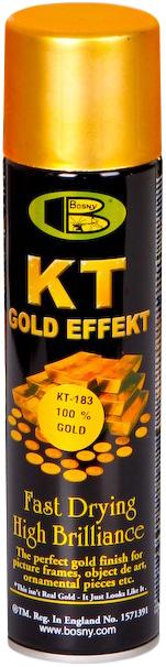 Акриловая аэрозольная спрей-краска BOSNY NO. 183 100% GOLD (золото хром), 300мл