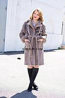 Меховое пальто из южно-американского бобра с  норковой отделкой, цвет капучино длина 100см, в наличии44,46,48