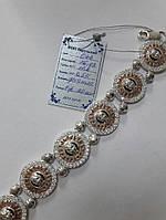 Серебряный браслет Versace с вставками золота 375 пробы и цирконом, фото 1