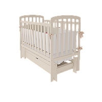 Модная детская кроватка Teddy УМК с поперечным / продольным маятниковым качанием (с/без ящика) ТМ WoodMan Слоновая кость