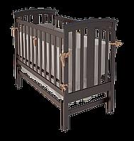 Деревянная кроватка Mia для малыша с поперечным маятниковым механизмом качания (с ящиком / без) ТМ WoodMan Шоколадный