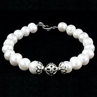 Жемчуг белый, серебро, Ø9 мм., браслет, 223БРЖ