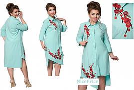 Модное платье-рубашка, с вышивкой, 48,52