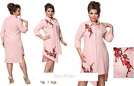 Модное платье-рубашка, с вышивкой, 48,50,52