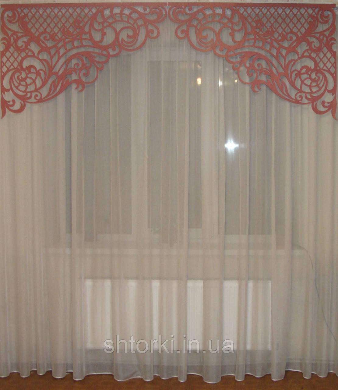 Ажурный жесткий ламбрекен розовый, 2,30м