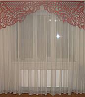 Ажурный жесткий ламбрекен розовый, 2,30м, фото 1
