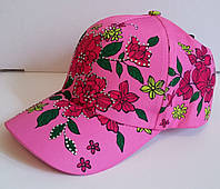 Бейсболка для девочки розовая, цветы