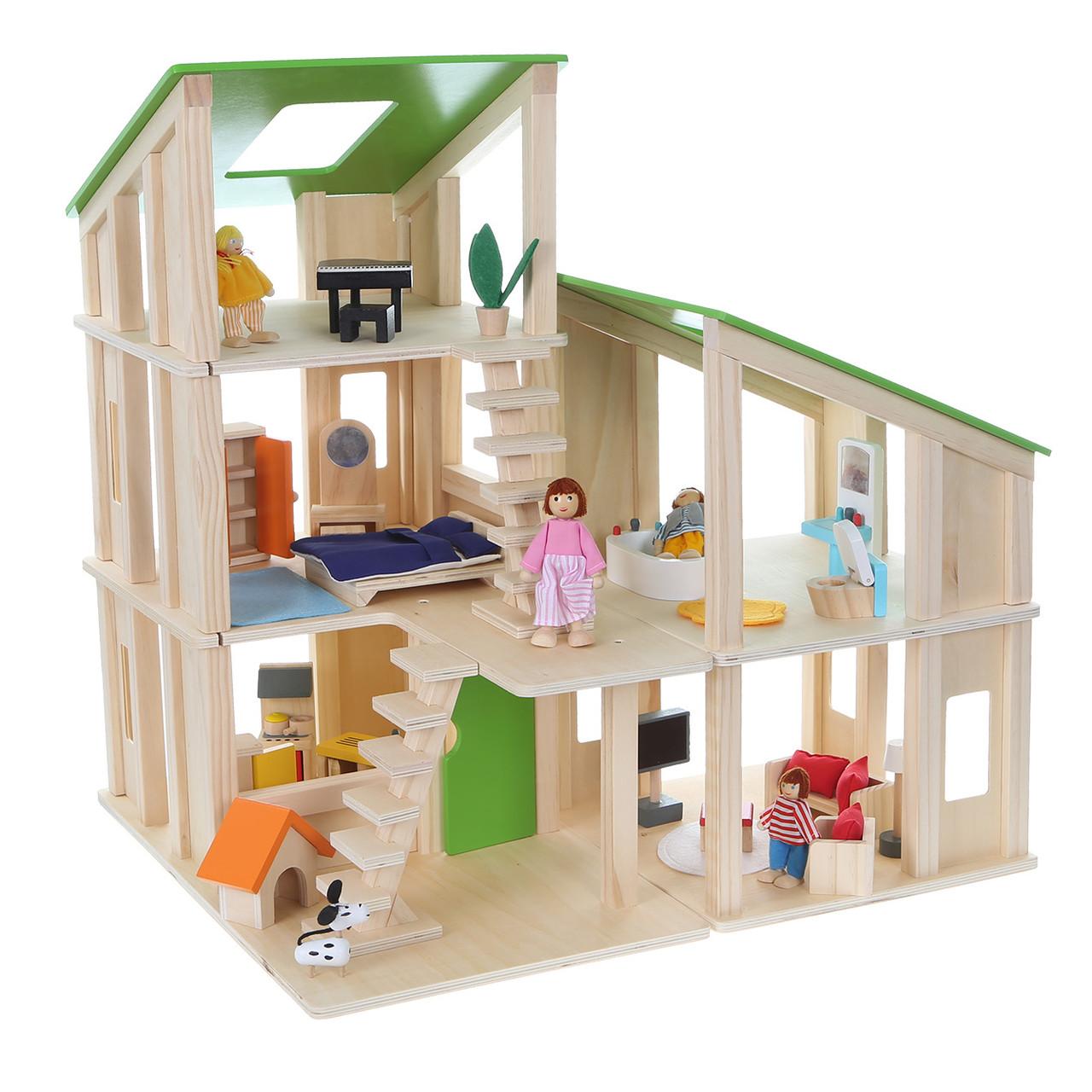 Деревянный кукольный домик с аксессуарами ECOTOYS 4102, фото 1