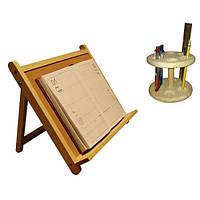 Подставка настольная под книгу и ручки деревянная ДУ009 Руди