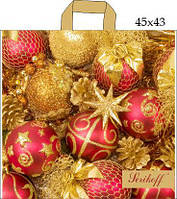 Пакет с петлевой ручкой (45x43+3/100 мк)Новый год шары Джерела(25шт/уп.)