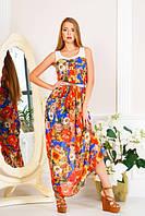 Яркое шифоновое платье в пол, разм.XL( 48-50)