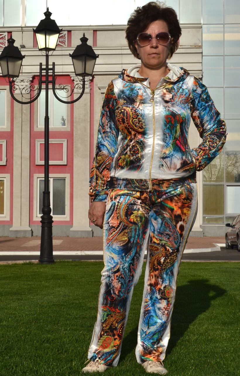 """Жіночий велюровий турецький костюм """"EZE"""" зі стразами ; розм 50,52,54,56"""