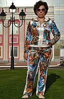 """Женский велюровый турецкий костюм """"EZE"""" со стразами ; разм 50,52,54,56"""