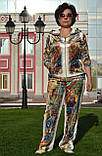 """Жіночий велюровий турецький костюм """"EZE"""" зі стразами ; розм 50,52,54,56, 2 кольори, фото 2"""