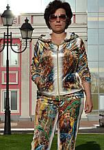"""Женский велюровый турецкий костюм """"EZE"""" со стразами ; разм 50,52,54,56, 2 цвета"""