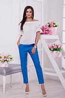 Женские летние зауженные укороченные (по щиколотку) льняные брюки НОРМА и БОТАЛ(большие размеры)  +цвета