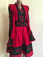 Сукня вишита червона дизайнерська робота 42-44 розмір, фото 1