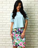 8cc09c25b9f Женский молодежный летний костюм двойка юбка с цветочным принтом+ блузка с  коротким рукавом