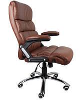 Офисное кожаное кресло Deko раскладное коричневое