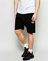 Шорты Adidas чёрные трикотажные белый цветок