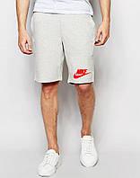 Шорты Nike серые значёк+лого красное