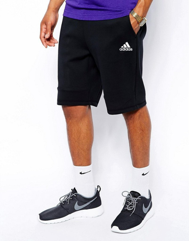 Шорты Adidas чёрные белый лого