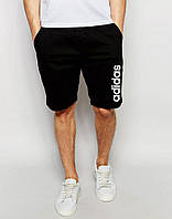Шорты Adidas чёрные вертикальный белый лого