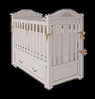 Белая детская кроватка Leonardo с ящиком и маятниковым поперечным механизмом качания ТМ WoodMan Белоснежный