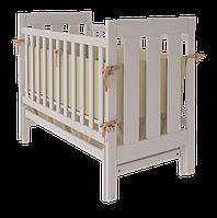 Кроватка Oscar для новорожденного из натурального дерева с поперечным качанием (ящик/ без ящика) ТМ WoodMan Белоснежный