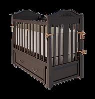Роскошная детская кроватка Leonardo с ящиком и маятниковым механизмом качания для новорожденных ТМ WoodMan Шоколадный