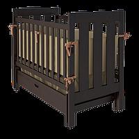 Эксклюзивная детская кроватка Oscar с маятником из массива бука (с ящиком и без) ТМ WoodMan Шоколадный