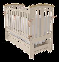 Кроватка Mia УМК для новорожденных детей до 3-х лет с маятниковым качанием из массива бука ТМ WoodMan Слоновая кость
