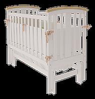 Уютная кроватка Mia УМК для малышей с маятниковым механизмом качания из массива бука (120х60 см) ТМ WoodMan Белоснежный
