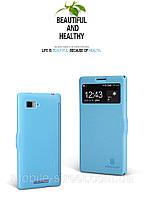 Чехол книжка боковой на Lenovo K910 Vibe Z, Nillkin Fresh Series с окном Голубой