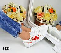 Женские кеды с вышивкой Сакура, эко кожа, белые / кеды для девочек, модные, 2017