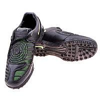 """Бутсы """"Сороконожки"""" Nike PU черно-зеленые 310-2 (реплика)"""