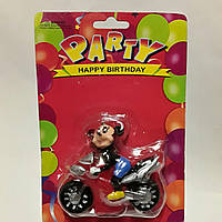 Свеча на торт Микки Маус на мотоцикле