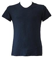 """Футболка мужская """"Ego"""" с V-образным вырезом приталенная MTS-1 Flamli 100% хлопок цвет тёмно-синий"""