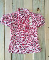 Рубашка с коротким рукавом Красные Цветы  на девочку Польша на рост 122 см, 128 см, 134 см
